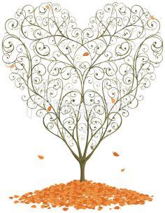 Autumnal heart shaped tree.