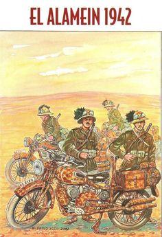 Regio Esercito - Deserto egiziano, 1942 - Bersaglieri motociclisti in esplorazione.