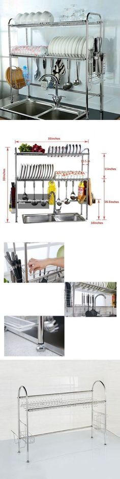 Racks and Holders 46283: Kitchen Over The Sink Dish Drying Rack 2 Tier Stainless Steel Adjustable Drainer -> BUY IT NOW ONLY: $98.69 on eBay!