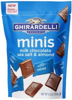Ghirardelli Minis Pouch, Chocolate Sea Salt and Almond, oz.: Ghirardelli minis sea salt and almond. Chocolate Rocks, Sea Salt Chocolate, Chocolate Babies, Chocolate Fountains, Chocolate Shop, Melting Chocolate, Gourmet Recipes, Real Food Recipes, Mini Milk