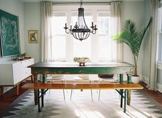 An eclectic dining room that still seems utterly serene.