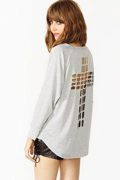 Cross Cutout Sweatshirt in Gray