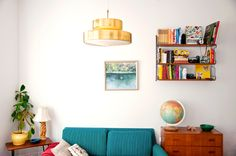 string shelves and cute retro living room