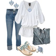 """Denim n White"" by tammietoo2 on Polyvore"