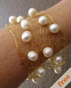 wire and pearl cuff  idea at Coco Knits