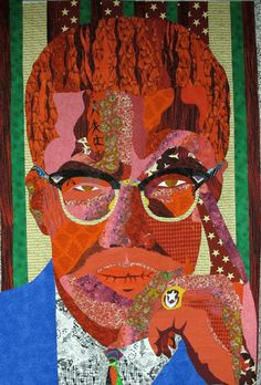 """Malcolm X - 48"""" x 120"""" - handmade quilt by Ramsess, an African American male quilter in Los Angeles. His work is fantastic!"""