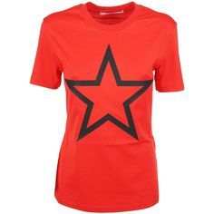 Givenchy Star Print T Shirt ($220) ❤ liked on Polyvore featuring tops, t-shirts, rosso, red top, star print top, star t shirt, givenchy top and red tee