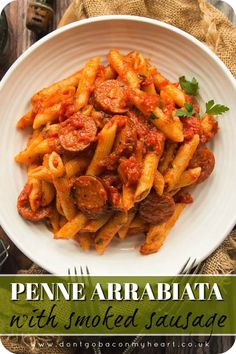 Penne Arrabiata with Smoked Sausage You really can't beat a Classic Arrabiata Sauce. Served with Penne and Smoked Sausage, this truly is the perfect mid week family dinner! Easy Pasta Recipes, Chicken Recipes, Easy Meals, Dinner Recipes, Cooking Recipes, Healthy Recipes, Cooking Food, Rice Recipes, Pork Recipes