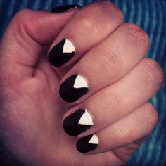 nice black white art nails polish cool creative diy