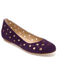 Love Moschino Suede Cut-Out Heart Ballet Flat