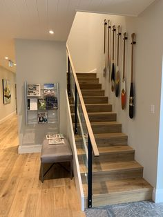 White Oak floors and stairs   www.grandfloors.ca Engineered Hardwood Flooring, Hardwood Floors, White Oak Floors, Condominium, Plywood, Plank, Stairs, Cottage, Design
