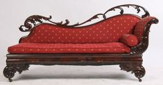 100: ANTIQUE MAHOGANY EMPIRE RECAMIER CHAISE LOUNGE : Lot 100