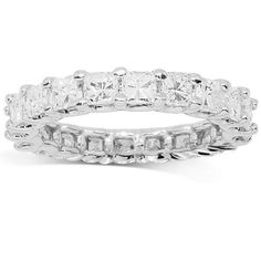 This glamorous womens diamond eternity band is crafted in lustrous 14K White Gold. Brilliant asscher cut diamonds are prong set across the band and weigh a total of 3.01 carats. The frame measures to 3/16 Inches in width and weighs approximately 3.7 grams. This one of a kind womens diamond eternity band is an ideal accessory which gleams with beauty and sophistication. $5,116.00