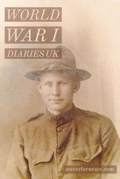 World War I UK Diaries http://ancestornews.com/world-war-uk-diaries/?utm_campaign=coschedule&utm_source=pinterest&utm_medium=Nancy%20Hendrickson&utm_content=World%20War%20I%20UK%20Diaries