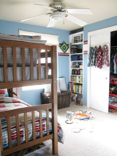Little Boy's shared Bedroom.  Lot's of  good storage ideas!