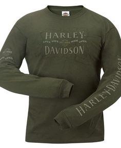 Harley Davidson Mens Distressed Letters Olive Green Long Sleeve Pocket T Shirt | eBay