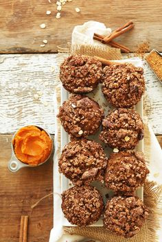 VEGAN Pumpkin Spice Muffins with a Pecan Crumble Topping! 1 Bowl, simple ingredients, naturally sweetened!