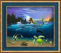 "#WYLAND Wyland's classic underwater artistry is on full display in this vivid look at ""The Littlest Mermaid Rides Again"" as a young mermaid frolics among a menagerie of playful sea animals. Never content to create anything less than a perfect work of art, Wyland enlisted one of his favorite collaborators, Jim Warren, to share the canvas once again in this sequel to their prior collaboration on ""The Littlest Mermaid."""
