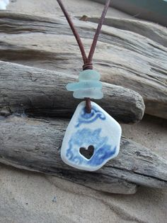 Sea glass jewelry, Sea Glass and Carved Heart Pottery Necklace -Scottish…
