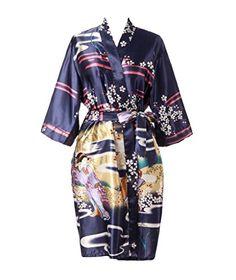 TheRobe Women s Printing Peacock Kimono Robe Short Sleeve Silk ... 1b3f86b07
