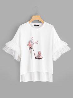 Best 12 Young Cute Regular Fit Round Neck Short Sleeve Flounce Sleeve Pullovers White Regular Length High-Heeled Shoes Print Bell Sleeve Tee – Page 682295412277858779 Hand Painted Dress, Diy Clothes, Clothes For Women, Vetement Fashion, Mode Hijab, Diy Shirt, Printed Tees, Shirt Blouses, Shirt Designs