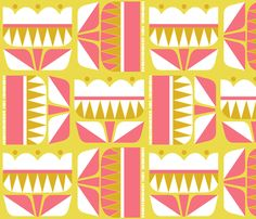 Geometric Floral fabric by limegreenpalace on Spoonflower - custom fabric