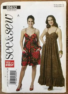 UNCUT Misses' Dress Sewing Pattern See & Sew 5632 Size