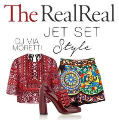 """""""Jet Set Style With DJ Mia Moretti & The RealReal: Contest Entry"""" by day-didi ❤ liked on Polyvore featuring Dolce&Gabbana, Naeem Khan and Miu Miu"""