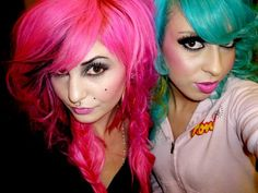 Neon pink and teal hair
