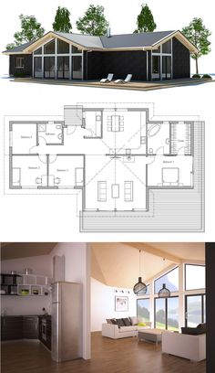 Small House Plans, Home Plans, Floor Plans, Architecture Dream House Plans, Modern House Plans, Small House Plans, House Floor Plans, Casas Containers, House Blueprints, Sims House, Architecture Plan, House Layouts