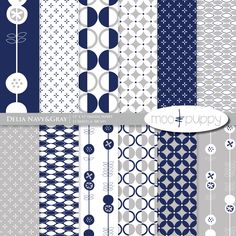 Digital Scrapbook Paper Pack - Delia Navy    (Buy 2 Get 1 Free) Personal and Small Commercial Use. $3.00, via Etsy.