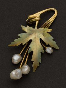 Art Nouveau 14k Gold, Pearl & Enamel Drop