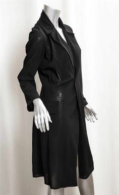 JUNYA WATANABE COMME DES GARCONS Womens Black Light Wool Long Jacket Coat