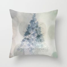 Chistmas Tree Stars & Bubbles • Throw Pillow white • ARTbyJWP on society6