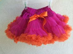 Baby Toddler Girls Pettiskirt Tutu Skirt Hot Pink and Orange Fluffy Party Dress Up by adorablebyme on Etsy