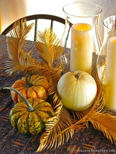 palm leaves and pumpkins for november buffet - Google Search