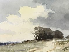 Edward Seago, The Hill Copse Watercolor landscape
