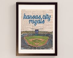 Kansas City Royals Dictionary Art Print - Kauffman Stadium - Print on Vintage Dictionary Paper - Baseball Art KCMO Kansas City Missouri