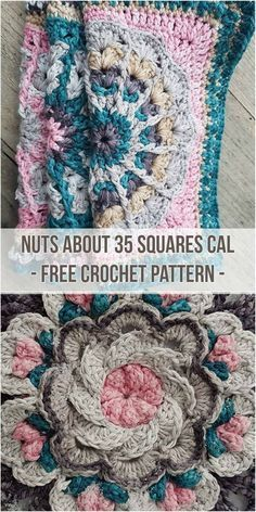 Crochet Square Patterns Nuts About 35 Squares CAL [Free Crochet Pattern] Granny Square Crochet Pattern, Crochet Flower Patterns, Crochet Squares, Crochet Blanket Patterns, Crochet Motif, Crochet Designs, Crochet Yarn, Crochet Stitches, Free Crochet