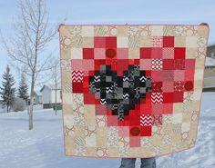 Pixel Heart in a Pixel Heart Quilt