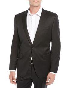 Men's Stretch-Wool Basic Two-Piece Suit, Black Grey Suit Men, Mens Suits, Suits Direct, Windowpane Suit, Hugo Boss Suit, Boss Man, Slim Fit Trousers, Tailored Suits, Wool Suit