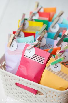DIY washi tape advent calendar treat bags : fox and star blog