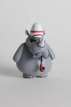 William - Designer Toy by Cassidy Wingrove, via Behance 3d Figures, Vinyl Figures, Action Figures, Vinyl Toys, Vinyl Art, Modelos 3d, Dinosaur Toys, Rhinoceros, Designer Toys