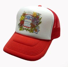 f2032b9ef44 1980 s Budweiser Beer Trucker Hat mesh hat snap back hat Red vintage New   unspecified