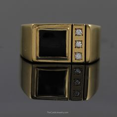 Square Black Onyx Ring with Diamond Accents in 10K Yellow Gold - The Castle Jewelry  - 1