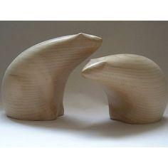 polar bear carving, sycamore