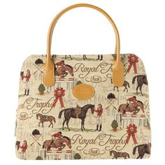 The design featured on this range of purses, bags and accesories is titled 'Chevalier' and depicts scenes of horses and horse-riding related poses.    This range has been produced by The Royal Tapisserie (Royal Tapestry). All of the tapestries Royal Tapisserie produce are made in the tradition of the 'Tisserands des Gobelins' (the weavers of Gobelin). The highest quality materials are used, from the natural leather to the fabric lining. £80.00