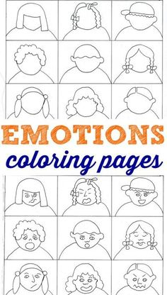Emotions coloring pages for kids to help them learn about feelings.