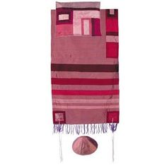 Raw Silk Tallit with stripes by Yair Emanuel-Maroon on maroon - Size Small 21 x 77 by Yair Emanuel. $162.61. This gorgeous tallit is made of hand woven raw silk. The stripes, atarah / yoke and corners are composed of sections of appliqued raw silk sewn onto the tallit. The tallit features a striped panel of colors in complementary color schemes in various shades
