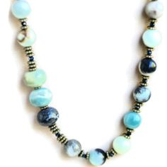 Long Chunky Asymmetrical Blue Grey Necklace by ALFAdesigns on Etsy, $69.99